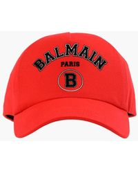 Balmain Cotton Cap With Black Paris Logo - Red