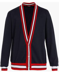 Balmain , Red And White Cotton Cardigan With Embroidered Badge - Black