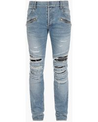 Balmain E Slim Fit Jeans im Destroyed-Look mit Kunstledereinsätzen - Blau