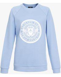 Balmain Iceberg Blue Cotton Sweatshirt With White Satin Logo