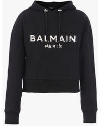 Balmain Short Black Hooded Cotton Sweatshirt With Silver Logo