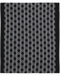 Balmain Black Wool Scarf With Embroidered White Monograms