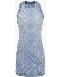 Balmain Short Embroidered Blue Denim Dress
