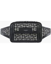 Balmain Bicolour Jacquard Belt Bag With Black Leather Panels