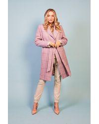 Baloot Clothing Bianca Violet Belted Coat - Pink