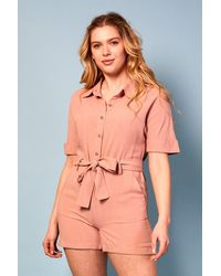Baloot Clothing Sophia Belted Button-front Romper - Pink
