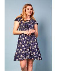 Baloot Clothing Ruby Short Front Long Back Printed Dress - Blue