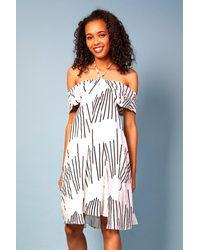 Baloot Clothing Elisa Halter-neck Printed Dress - White
