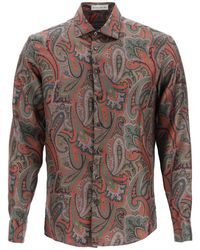 Etro Floral Paisley Print Silk Shirt - Brown