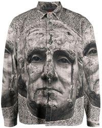 424 Graphic-print Shirt Jacket - Gray