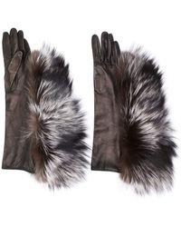 Maison Margiela Fur Trimmed Gloves - Multicolour