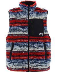 Stussy Striped Fleece Vest - Red