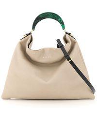 Marni Hobo Medium Bag With Resin Handle - Black