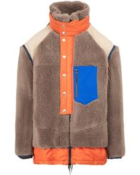 Sacai Faux Shearling Jacket In Wool 1 - Multicolour