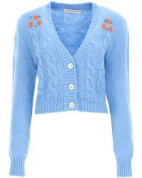 Alessandra Rich Flower Cropped Cardigan - Blue