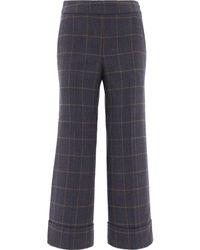 Peserico Straight Leg Tartan Trousers - Blue