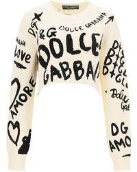 Dolce & Gabbana Dolce & Gabbana Cropped Jumper With Graffiti Logo - Black