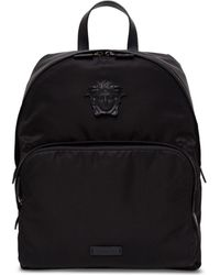 Versace - Black Nylon And Leather Backpack With Logo - Lyst