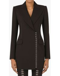 Dolce & Gabbana Double-breasted Jacket In Wool Canvas - Black