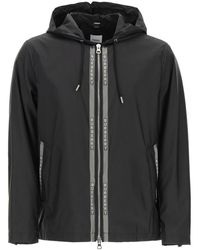 Burberry Stretton Nylon Jacket With Logo - Black