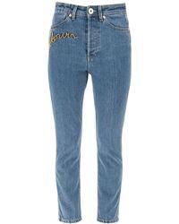 Lanvin Logo Embroidery Denim Jeans 34 Cotton,denim - Blue