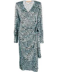ANDAMANE Carly Printed Wrap Dress - Blue