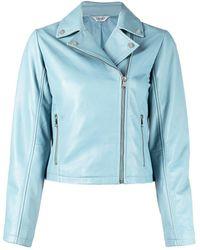 Liu Jo Zip-up Leather Jacket - Blue