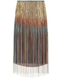 Dries Van Noten Pencil Skirt With Fringes And Sequins - Multicolour