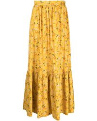 L'Autre Chose Floral Print Midi Skirt - Yellow