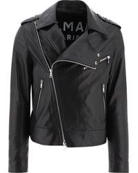 "Balmain ""biker"" Leather Jacket - Black"
