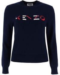 KENZO Logo Embroidery Jumper - Blue