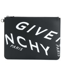 Givenchy Logo Leather Pouch - Black