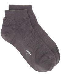 Miu Miu Textured Short Socks - Grey