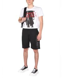 Alexander McQueen Acetate Shorts With Embroidered Logo - Black