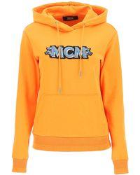 MCM Logo Embroidery Hoodie - Orange