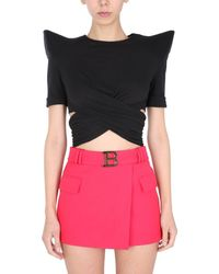 Balmain Top With Structured Shoulders - Black