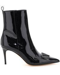 Valentino Garavani Valentino Garavani Vlogo Patent Ankle Boots - Black