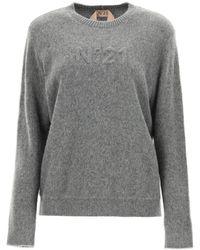 N°21 N.21 Pullover With Logo - Grey