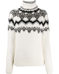 Ermanno Scervino Knitted Sweater With Lace Appliqué - White