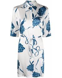 La Perla Floral Night Shirt Silk Dress - White