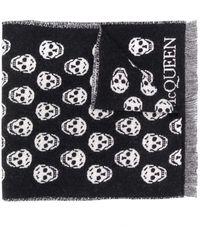 Alexander McQueen Reversible Skull Wool Scarf - Black