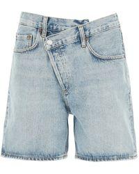 Agolde Criss Cross Denim Shorts - Blue