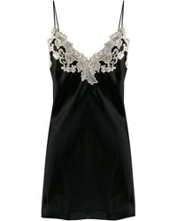 La Perla Maison Lace Trim Slip Dress - Black
