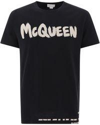 Alexander McQueen Jersey T-shirt With Logo Print - Black