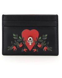 Alexander McQueen Printed Card Holder Pouch Skull - Multicolour