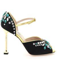 Miu Miu Satin Crystal Sandals - Multicolour