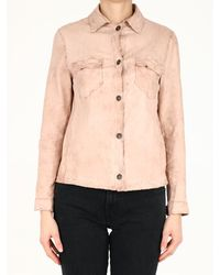 Salvatore Santoro Powder Pink Leather Shirt - Natural