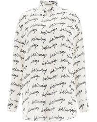 Balenciaga Scribble Logo Silk Shirt - Multicolour