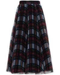 Philosophy Di Lorenzo Serafini Long Pleated Tartan Skirt - Black