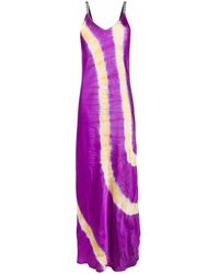 Palm Angels Tie-dye Slip Dress - Purple